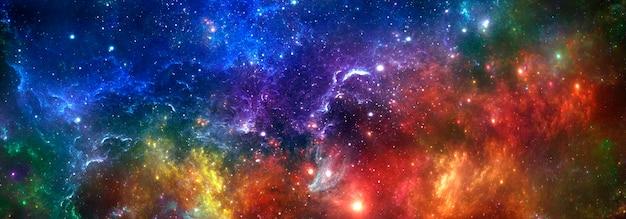 Universo colorato astratto luminoso e cielo stellato notturno della nebulosa, spazio stellato cosmico multicolore