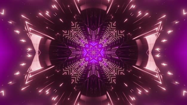 Fondo futuristico astratto luminoso del tunnel fantastico con forma di cristallo in illuminazione viola al neon con tracce di luce