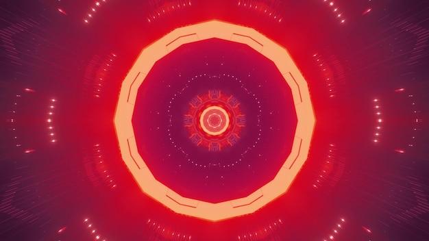 Sfondo visivo astratto luminoso con linee circolari simmetriche e punti che formano una prospettiva a tunnel di forma rotonda con illuminazione rossa