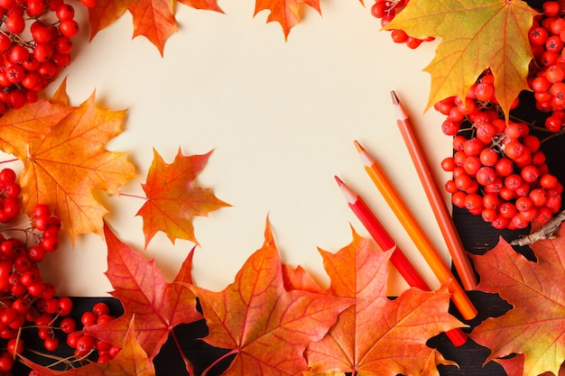 Foglie e testo luminosi di autunno; sfondo autunno generico, perfetto per banner di vendita, invito a nozze o salvare il modello di data, cartolina d'auguri di stagione