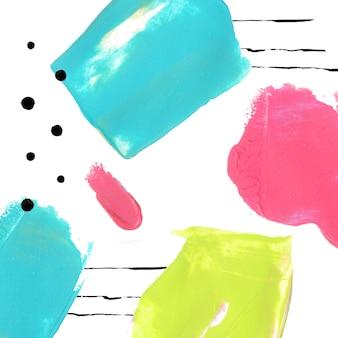Sfondo luminoso con macchie di vernice tratti acrilici rosa blu e verdi con linee e punti di inchiostro