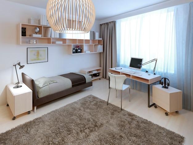 Camera da letto dal design luminoso con un enorme tappeto di lana al centro.
