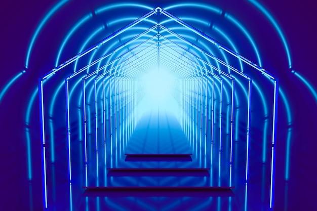 Portale del podio di colore blu brillante con luci al neon