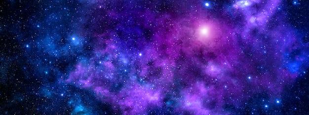 Una nebulosa cosmica viola blu brillante con polvere di stelle e stelle brillanti
