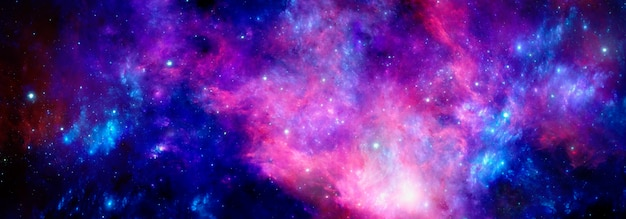 Una nebulosa rosso blu brillante dello spazio profondo con stelle brillanti e un ammasso di gas
