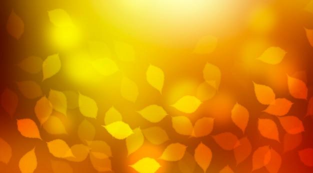 Sfondo bokeh autunnale sfocato luminoso con foglie