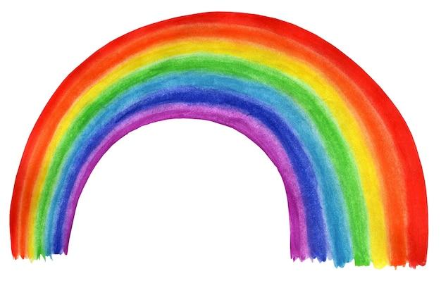 Arcobaleno della curva dell'illustrazione dei bambini luminosi. isolato su sfondo bianco. disegnato a mano.