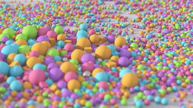 Luminose palline colorate e cubi illustrazione astratta