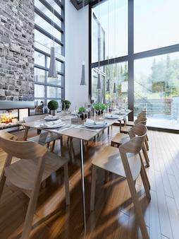 Design luminoso della sala da pranzo con finestre panoramiche.
