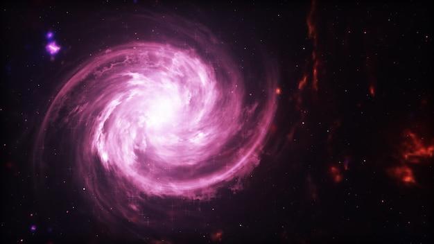 Galassia luminosa. stelle astratte su sfondo nero. trama frattale fantasia nei colori rosso, rosa e viola chiaro. arte digitale. illustrazione 3d