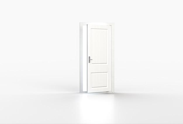 Luce intensa che splende attraverso la porta bianca aperta su bianco. rendering 3d