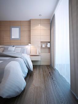 Tendenza camera da letto moderna e luminosa con finestra panoramica dal pavimento al soffitto