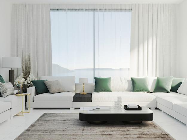 Luminoso soggiorno moderno con divano bianco e cuscini verdi, soggiorno lussuoso ed elegante mock up, rendering 3d