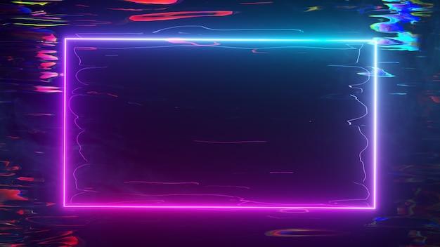 Una cornice luminosa al neon brilla con uno spettro al neon su uno sfondo d'acqua. illustrazione 3d