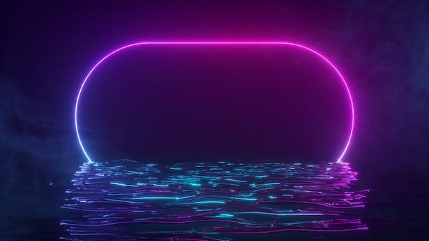 Una cornice luminosa al neon brilla con uno spettro di luce al neon nell'acqua. sfondo fumoso. illustrazione 3d