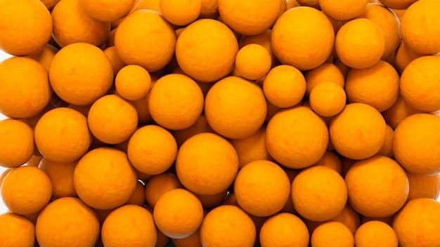 Sfere arancioni luminose, oggetti di design astratti.