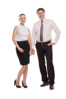 Immagine luminosa dell'uomo e della donna in giacche di abiti formali. isolato su sfondo bianco.