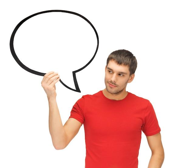Immagine luminosa dell'uomo pensieroso con la bolla di testo in bianco.