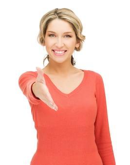 Immagine luminosa di una donna con una mano aperta pronta per la stretta di mano