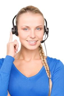 Brillante ritratto di amichevole operatore di linea di assistenza femminile