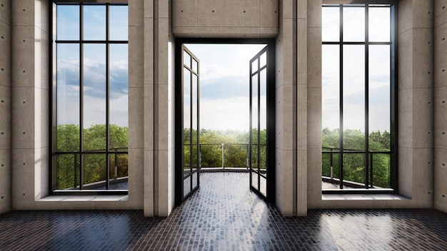 Luminoso design degli interni con porte e finestre alte