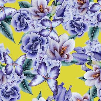 Modello senza cuciture luminoso con fiori. croco. anemone. iris. illustrazione dell'acquerello. disegnato a mano.