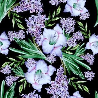 Modello senza cuciture luminoso con fiori. gladiolo. giacinto. illustrazione dell'acquerello. disegnato a mano.