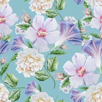 Modello senza cuciture luminoso con fiori. ibisco. rosa. illustrazione dell'acquerello. disegnato a mano.
