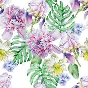 Modello senza cuciture luminoso con fiori. iris. peonia. narciso. illustrazione dell'acquerello. disegnato a mano.