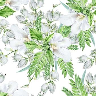 Modello senza cuciture luminoso con fiori. malva. yucca. illustrazione dell'acquerello. disegnato a mano.