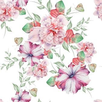 Modello senza cuciture luminoso con fiori. peonia. petunia. illustrazione dell'acquerello. disegnato a mano.