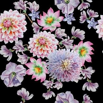 Modello senza cuciture luminoso con fiori. petunia. dalia. loto. illustrazione dell'acquerello. disegnato a mano.