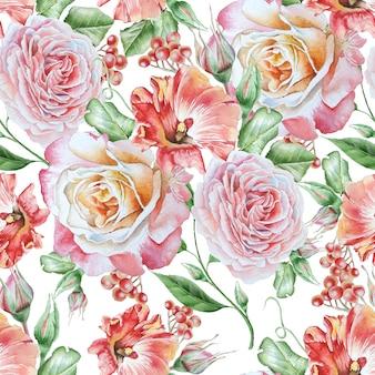 Modello senza cuciture luminoso con fiori. petunia. rosa. rowan. illustrazione dell'acquerello. disegnato a mano.