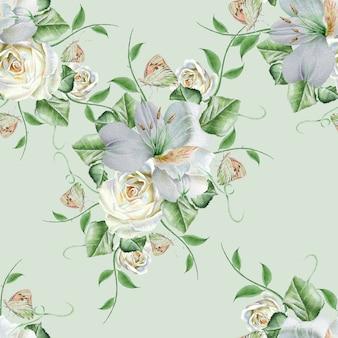 Modello senza cuciture luminoso con fiori. rosa. alstroemeria. farfalla. illustrazione dell'acquerello. disegnato a mano.