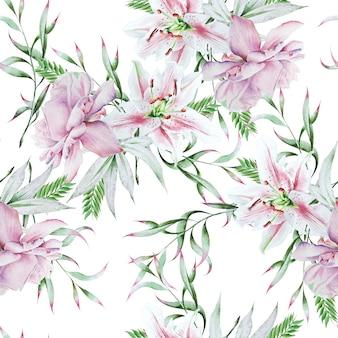 Modello senza cuciture luminoso con fiori. rosa. giglio. illustrazione dell'acquerello. disegnato a mano.