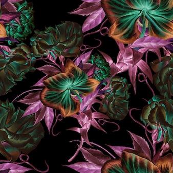 Modello senza cuciture luminoso con fiori. rosa. orchidea. illustrazione dell'acquerello. disegnato a mano.