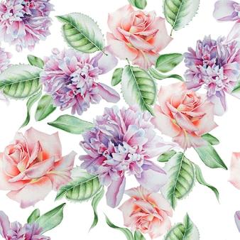 Modello senza cuciture luminoso con fiori. rosa. peonia. acquerello. disegnato a mano.