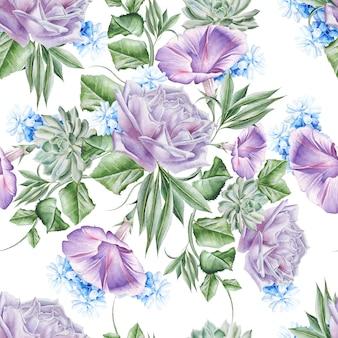 Modello senza cuciture luminoso con fiori. rosa. petunia. giacinto. succulenta. illustrazione dell'acquerello. disegnato a mano.