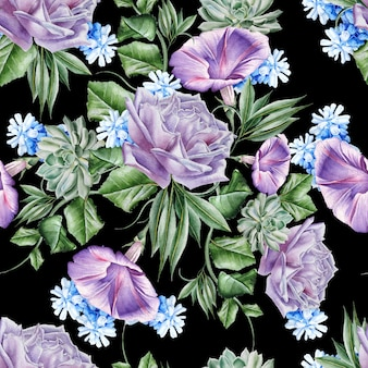 Modello senza cuciture luminoso con fiori. rosa. petunia. giacinto. succulenta. illustrazione dell'acquerello. disegnato a mano. Foto Premium