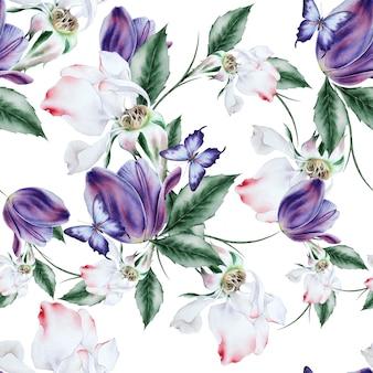 Modello senza cuciture luminoso con fiori. rosa. tulipano. la farfalla. illustrazione dell'acquerello. disegnato a mano.