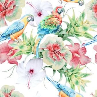 Modello senza cuciture luminoso con pappagalli e fiori. ibisco. bromeliad. illustrazione dell'acquerello. disegnato a mano.