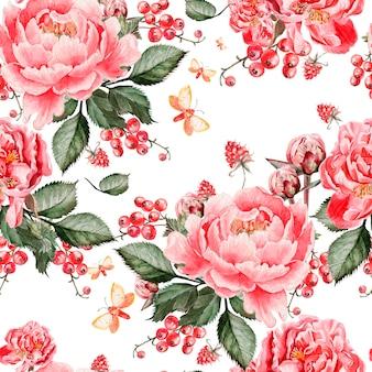 Modello senza cuciture luminoso con fiori di peonia e lamponi. illustrazione