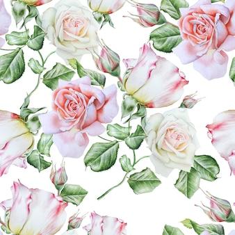 Modello senza cuciture luminoso con rose. illustrazione dell'acquerello. disegnato a mano.