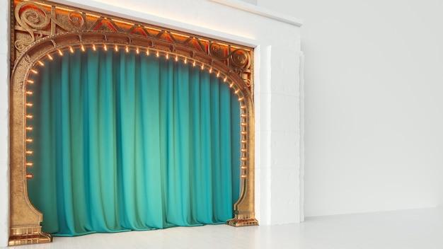 Palcoscenico vuoto bianco luminoso di cabaret o cabaret con sipario verde e arco art nuovo. rendering 3d.