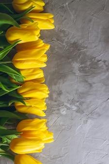 Tulipani gialli brillanti su sfondo grigio cemento. vista dall'alto, piatto. copia spazio. verticale