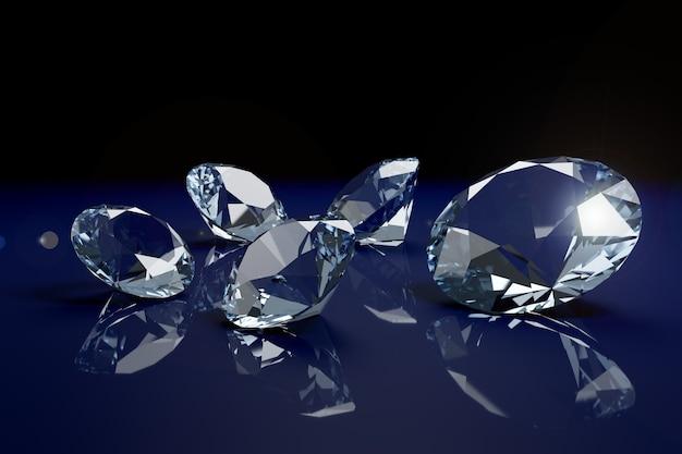 Diamanti brillanti su sfondo blu.