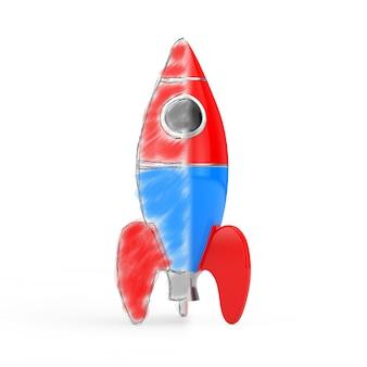 Porta l'idea al concetto di vita. razzo dal disegno dei bambini al modello reale su sfondo bianco. rendering 3d