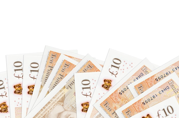 Le banconote in sterline britanniche si trovano sul lato inferiore dello schermo isolato su sfondo bianco