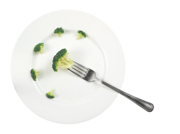 Fiorellino di broccoli sulla vista dall'alto della forcella