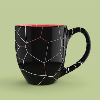 Tazza nera rotta vuoto vuoto per caffè o tè su sfondo verde. rendering 3d
